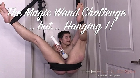 Virgin lesbian is restrained bondage in a Magic Wand Challenge